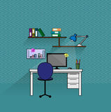 Posto di lavoro del ragioniere di affari con lo scaffale di libro e del computer Immagini Stock Libere da Diritti