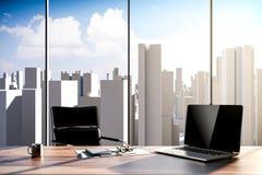posto di lavoro dell'ufficio 3d con orizzonte nei precedenti Immagine Stock Libera da Diritti