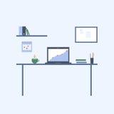Posto di lavoro dell'ufficio e della casa Illustrazione piana di vettore Fotografia Stock
