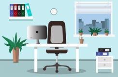 Posto di lavoro dell'ufficio ed illustrazione interna dell'ufficio nello stile piano illustrazione vettoriale