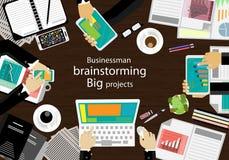Posto di lavoro di vettore per le riunioni d'affari ed il 'brainstorming' Insegne di concetto e di web di piano di analisi, stamp Fotografie Stock Libere da Diritti