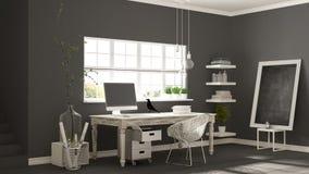Posto di lavoro domestico, ufficio scandinavo dell'angolo della stanza della casa, m. classica Fotografia Stock Libera da Diritti