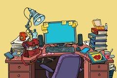 Posto di lavoro femminile di Pop art con il computer royalty illustrazione gratis