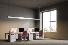 Posto di lavoro grigio dell'ufficio open space, centro di affari illustrazione vettoriale