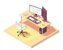 Posto di lavoro isometrico del programmatore di vettore illustrazione vettoriale