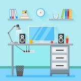 Posto di lavoro moderno nella sala Area di lavoro domestica con gli oggetti, attrezzatura Fotografia Stock