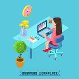 Posto di lavoro moderno Ufficio isometrico Donna di affari sul lavoro Immagini Stock Libere da Diritti