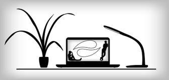 Posto di lavoro una conversazione fra due genti illustrazione vettoriale