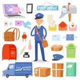 Postoffice vector postman delivers mails in postbox or mailbox and post character carries mailed letters in letterbox. Illustration set postal delivery service Royalty Free Stock Images