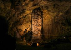 Postojna cave, Slovenia. Formations inside cave with stalactites and stalagmites. Stock Photos