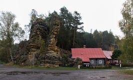 Postolci kuzel rocky formation in Jetrichovice in Ceskosaske Svycarsko national park Stock Image