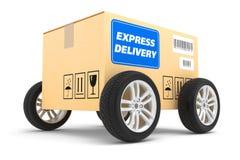 Postpakket op wielen Stock Foto's
