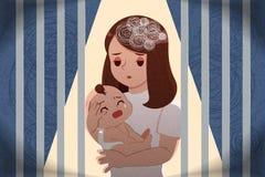 Postpartum depression concept vector illustration