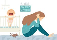 Postpartum depression. Postnatal depression. Baby s blues. Cartoon vector hand drawn eps 10 illustration isolated on. White background royalty free illustration