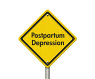 Postpartum Depression Warning Sign. Yellow Caution sign with words Postpartum Depression isolated on white Stock Photo