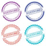 Postponed badge isolated on white background. Flat style round label with text. Circular emblem vector illustration Royalty Free Stock Image