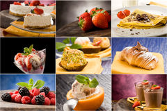Postre - collage foto de archivo libre de regalías