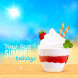 Postre cremoso suave del helado en la playa soleada ilustración del vector