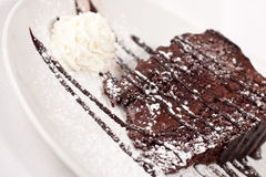 Postre de la torta de chocolate Foto de archivo libre de regalías