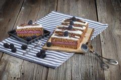 Postre de la zarzamora del chocolate con las virutas del chocolate con los fórceps de la confitería imagen de archivo libre de regalías