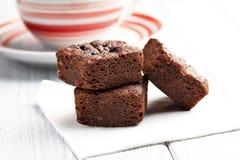 Postre de los brownie del chocolate Imagen de archivo