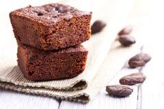 Postre de los brownie del chocolate Fotos de archivo