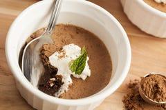Postre de Rich Gourmet Homemade Chocolate Mousse Foto de archivo