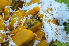 Postre de Tailandia - plátano, calabazas, maíz, sojas, descarga dulce Foto de archivo libre de regalías