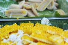 Postre de Tailandia - plátano, calabazas, maíz, sojas, descarga dulce Imágenes de archivo libres de regalías