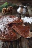 Postre del Año Nuevo, torta de la pera del chocolate Fotografía de archivo
