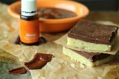Postre del chocolate con aceite esencial Foto de archivo libre de regalías