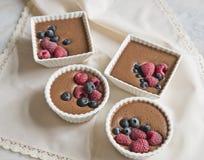 Postre del chocolate con las bayas en el fondo de una servilleta beige hermosa imagen de archivo libre de regalías