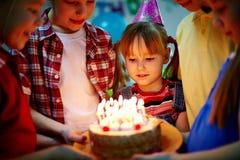 Postre del cumpleaños Imágenes de archivo libres de regalías