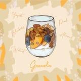 Postre del postre helado con imagen del estilo del bosquejo del granola, del arándano, del melocotón y del yogur Ilustración dren stock de ilustración
