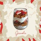 Postre del postre helado con imagen del estilo del bosquejo del granola, de la frambuesa, de la fresa y del yogur Ilustración dre ilustración del vector