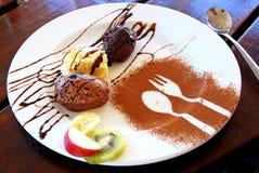 Postre del mousse de chocolate Fotografía de archivo