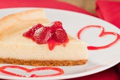 Postre del pastel de queso con las fresas Fotos de archivo
