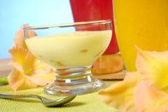 Postre del queso poner crema Imágenes de archivo libres de regalías
