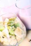 Postre del yogur con las frutas Imagen de archivo libre de regalías