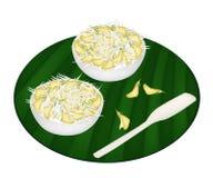 Postre delicioso de Sesbania Javanica con el coco destrozado stock de ilustración