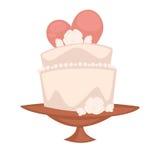Postre dulce de la torta doble para la celebración del día de fiesta del compromiso Ilustración del vector Fotografía de archivo libre de regalías