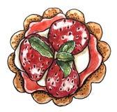 Postre dulce, magdalena de la fresa con la rama de la menta stock de ilustración