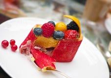 Postre de la compota de fruta Fotos de archivo