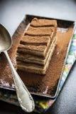 Postre italiano tradicional de la torta del Tiramisu foto de archivo