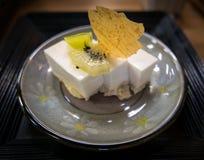 Postre japonés del pueblo, pudín del queso de soja Foto de archivo libre de regalías