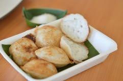 Postre, leche de coco y crepe tailandeses tradicionales de la harina de arroz Imagen de archivo