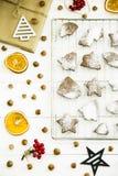 Postre picante del invierno de la Navidad - galletas del jengibre asperjadas con el azúcar en polvo Imágenes de archivo libres de regalías