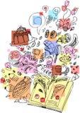 Postre que cocina doodle incompleto del libro Imágenes de archivo libres de regalías