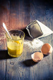 Postre simple hecho de yemas de huevo y de azúcar Fotos de archivo libres de regalías