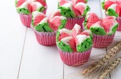 Postre tailandés, torta cocida al vapor tailandesa de la taza o torta de la algodón imagen de archivo libre de regalías